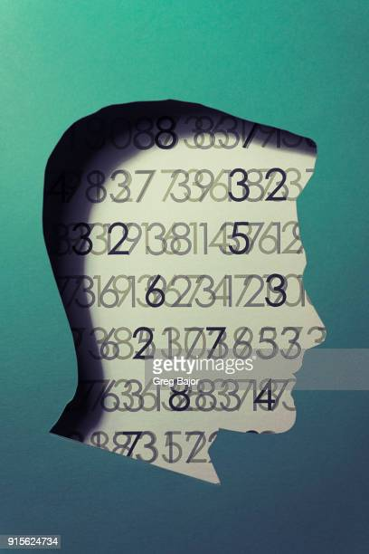 human head with abstract code background - number stock photos and pictures