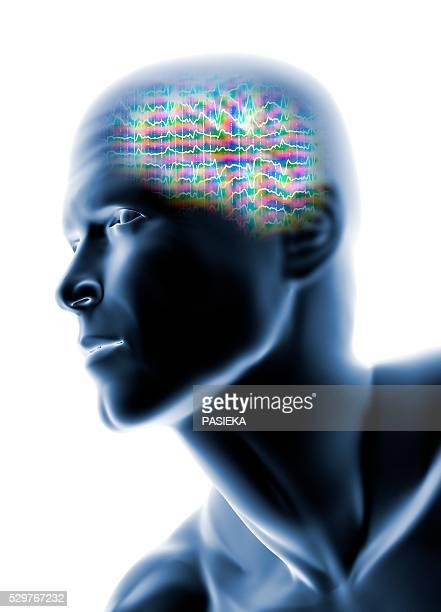 Human head with EEG brainwaves
