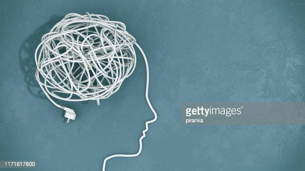 human head with tangled wires - cable stock pictures, royalty-free photos & images