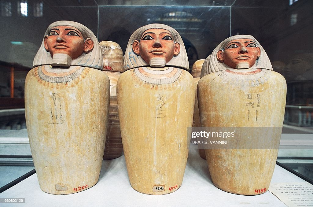 Human head-shaped canopic jars. Egyptian civilisation Middle Kingdom. Cairo Egyptian  sc 1 st  Getty Images & Human head-shaped canopic jars Middle Kingdom Pictures | Getty Images