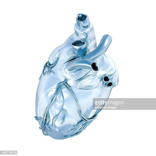 human heart with chrome effect - human heart stock pictures, royalty-free photos & images