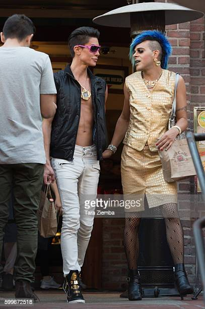 Human Ken doll Justin Jedlica and artist/TV personality Sham Ibrahim are spotted at Urth Cafe on August 26 2016 in Los Angeles California
