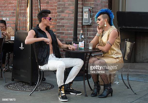 Human Ken doll Justin Jedlica and artist/TV personality Sham Ibrahim are spotted having a conversation at Urth Cafe on August 26 2016 in Los Angeles...