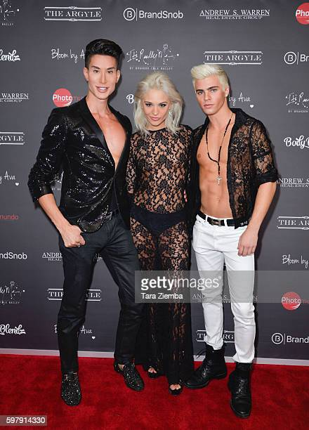Human Ken Doll Justin Jedlica model Ava Capra and model Brandon Cole Bailey attend Ava Capras 21st birthday celebration at The Argyle on August 29...