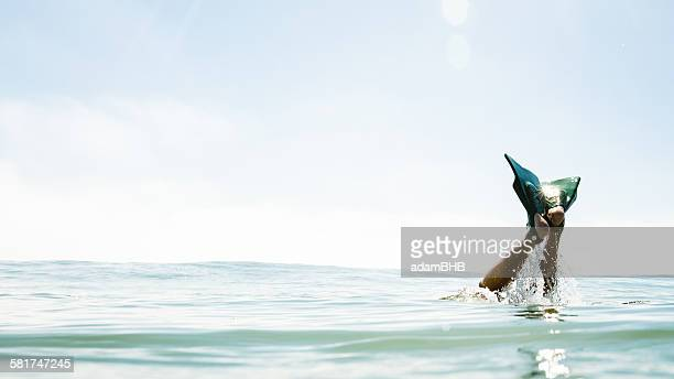 Human legs with flippers sticking out of the sea
