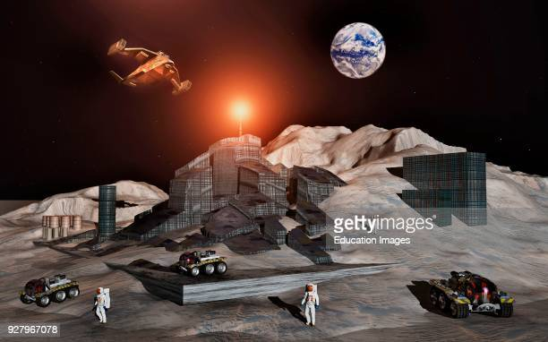 A Human Mining Colony On The Surface Of The Moon