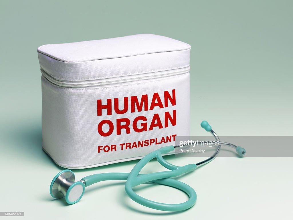Human organ transplant bag and stethoscope : Stock Photo