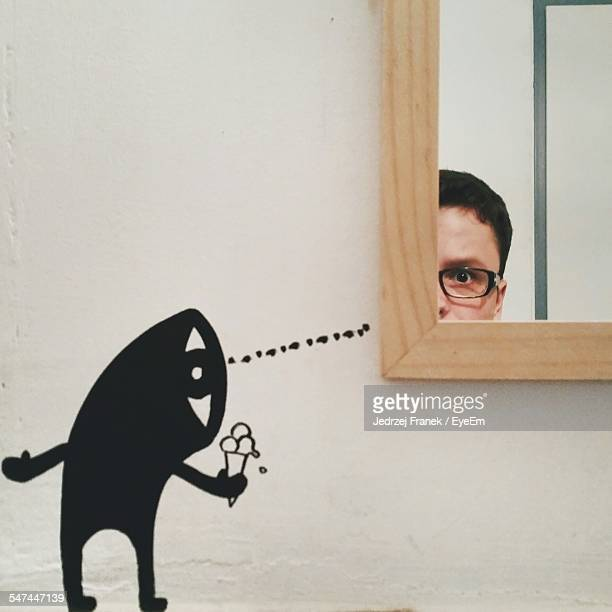 Human Painting Offering Ice Cream To Man With Reflection On Mirror