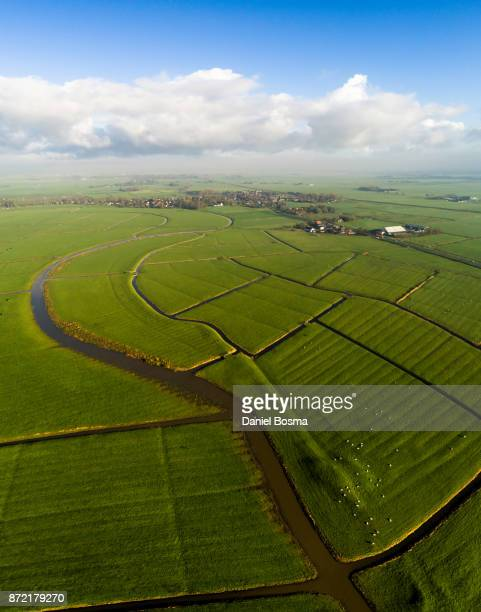 Human prints in cultivated Dutch landscape, seen from the air