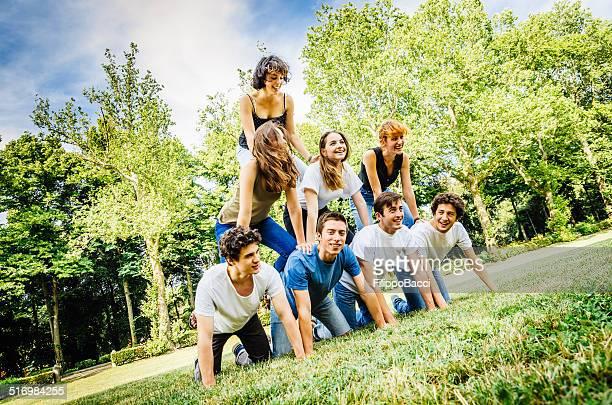 Human pyramid at the park