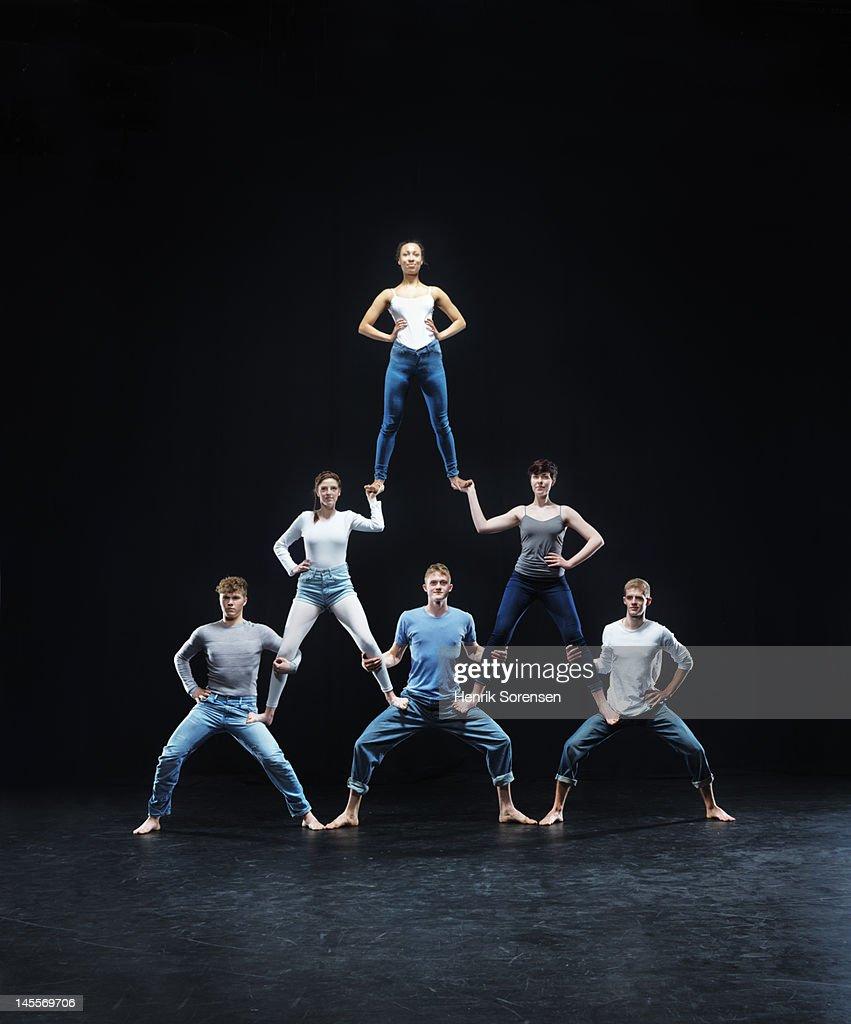 Human pyramid : Foto de stock