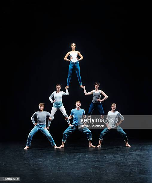 human pyramid - prop stock pictures, royalty-free photos & images