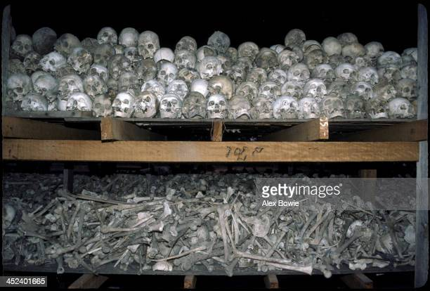 Human remains excavated from the Killing Fields at Choeung Ek outside Phnom Penh where many Cambodians were executed by the Khmer Rouge and buried in...
