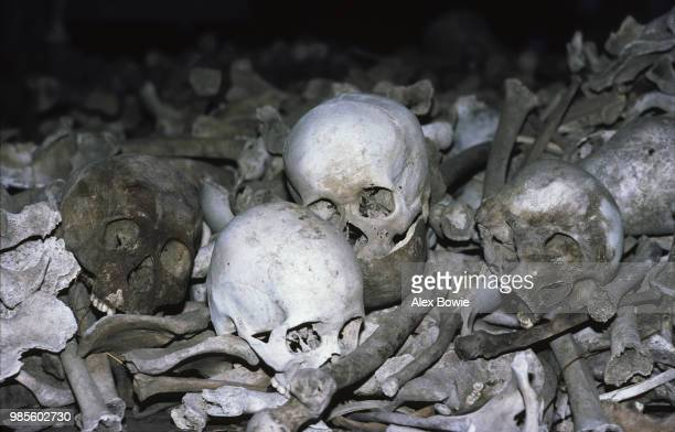 Human remains excavated from the Killing Fields at Choeung Ek where many Cambodians were executed by the Khmer Rouge and buried in mass graves Phnom...