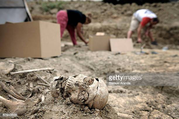 Human remains lay backdropped by archeologists exhuming the human remains at the San Rafael mass grave where an estimated of 4500 bodies where found...