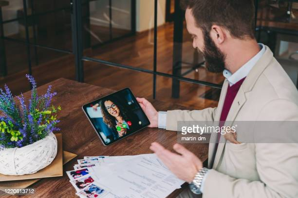 human resources manager recruiting on video call, covid-19 pandemic - interview stock pictures, royalty-free photos & images