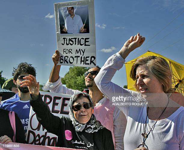 US Human Rights activist Cindy Sheehan British national of Pakistani origin Asif Iqbal a former prisoner at the US detention camp in Guantanamo Bay...