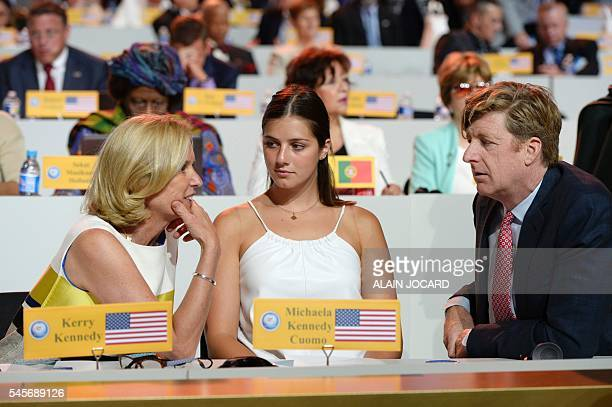 US human rights activist Kerry Kennedy and her daughter Michaela Kennedy Cuomo speak with US politician Patrick Kennedy during the National Council...