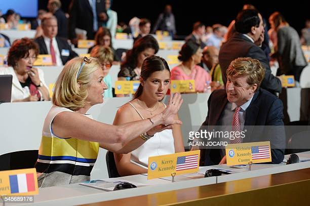 US human rights activist Kerry Kennedy gestures while speaking to her daughter Michaela Kennedy Cuomo and US politician Patrick Kennedy during the...