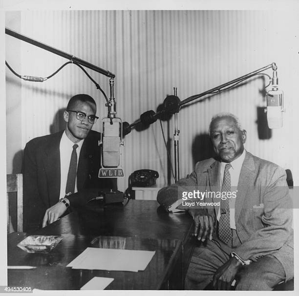Human rights activist Malcolm X at Harlem Broadcasting Station, WLIB, expressing his views on the radio, with editor George S Schuyler, circa...