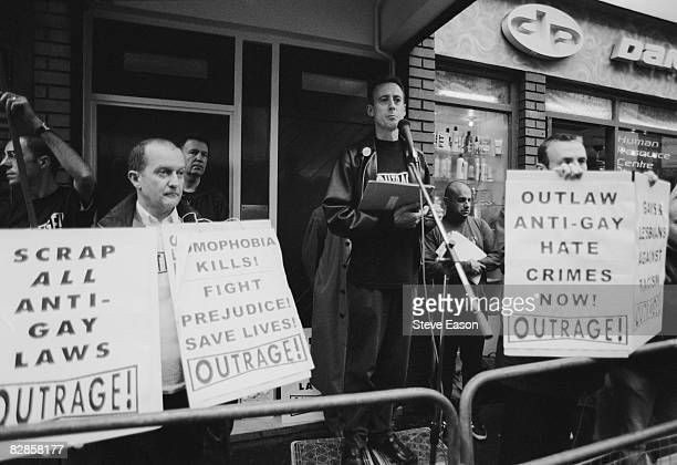 Human rights activist Peter Tatchell at a vigil organized by the direct action gay rights campaigning group OutRage in Old Compton Street Soho London...