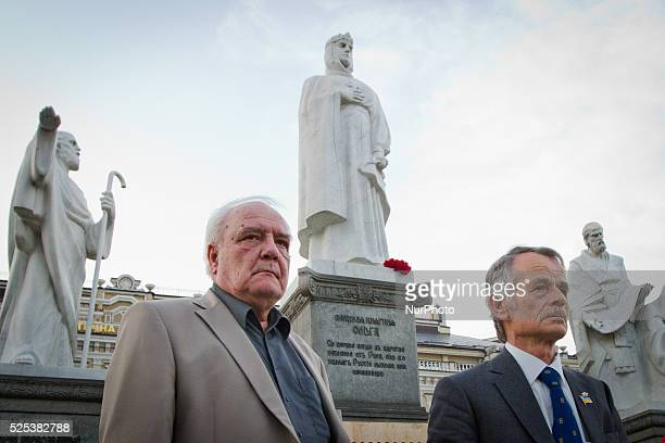Human rights activist writer and dissident Vladimir Bukovsky and Crimean Tatar leader Mustafa Dzhemilev during the requiem quotLight a candle in your...