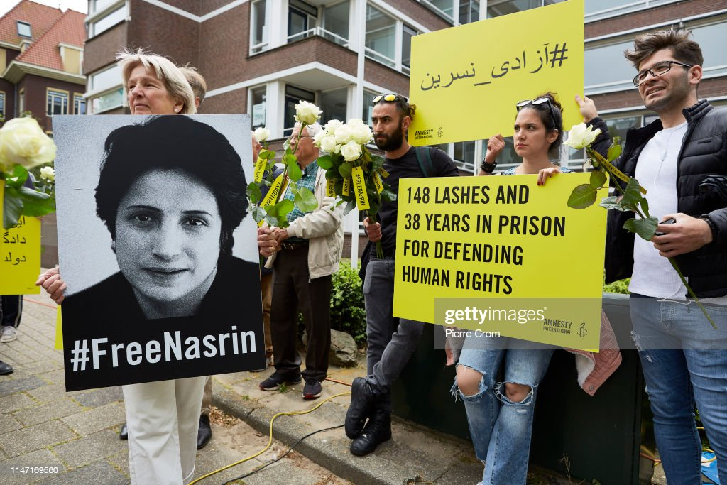Supporters Of Jailed Human Rights Lawyer Protest At Iranian Embassy In The Hague : News Photo