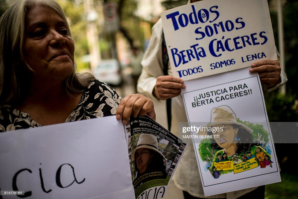 CHILE-HONDURAS-CRIME-ENVIRONMENT-CACERES-MURDER-PROTEST : News Photo