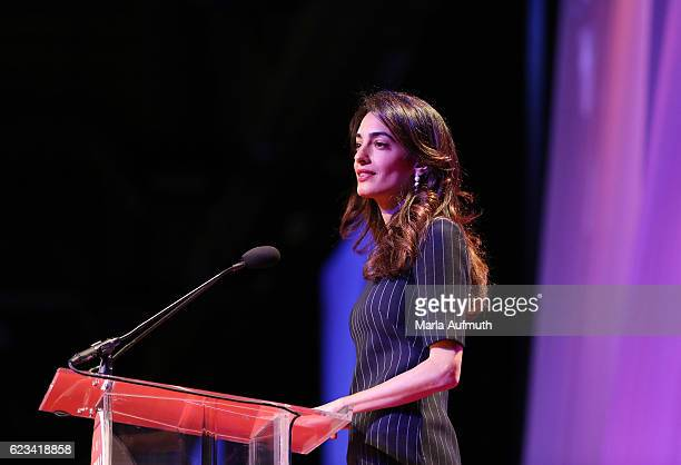 Human rights attorney Amal Clooney speaks onstage at the 'Keynote Luncheon' during the 'Texas Conference For Women' 2016 at Austin Convention Center...