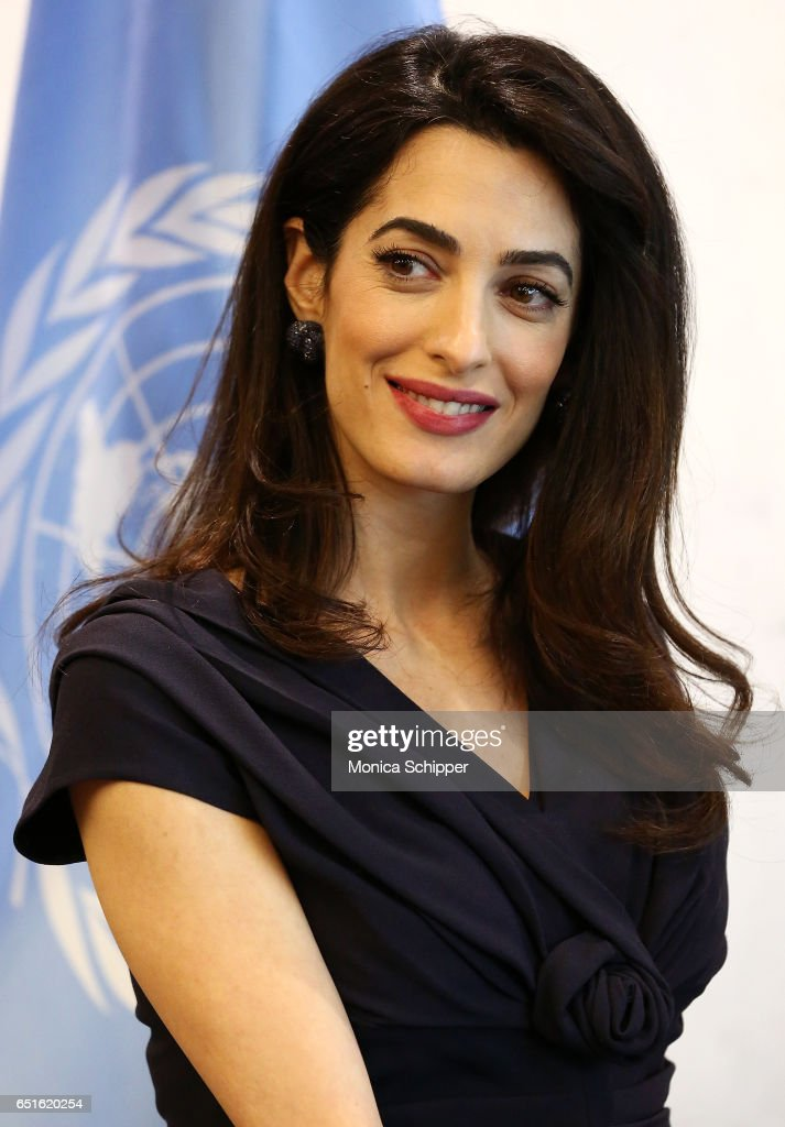 Human rights attorney Amal Clooney visits the Secretary-General Of The United Nations Antonio Guterres at United Nations Headquarters on March 10, 2017 in New York City.