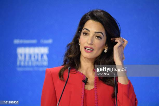 Human rights barrister Amal Clooney speaks during a discussion at the Global Conference on Press Freedom on July 10, 2019 in London, England. The...