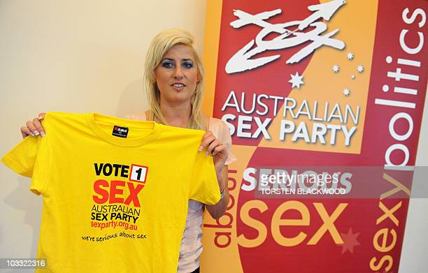 Human rights campaigner lawyer pole dancer and Australian Sex Party senate candidate Zahra Stardust displays the party's official Tshirt during the...