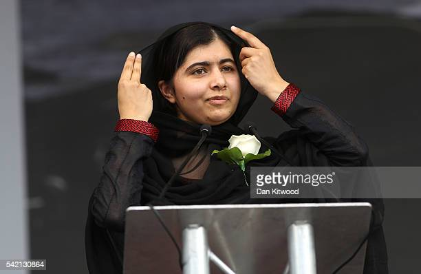 Human rights campaigner Malala Yousafzai delivers a speech on stage during a memorial event for murdered Labour MP Jo Cox at Trafalger Square on June...