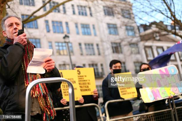 Human rights campaigner Peter Tatchell addresses activists at a rally in solidarity with the prodemocracy movement in Hong Kong and in protest at...