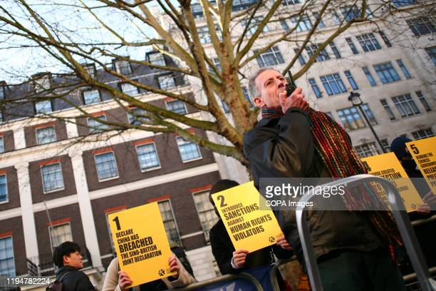 Human rights campaigner Peter Tatchell addresses activists during the protest Activists rally in solidarity with the prodemocracy movement in Hong...