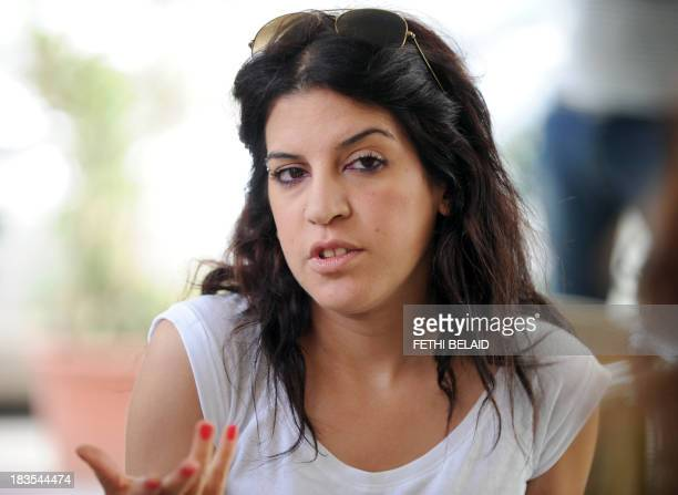 Human rights defender internetactivist and blogger Lina Ben Mhenni who was previosly nominated for the Nobel Peace prize arrives to attend the trial...