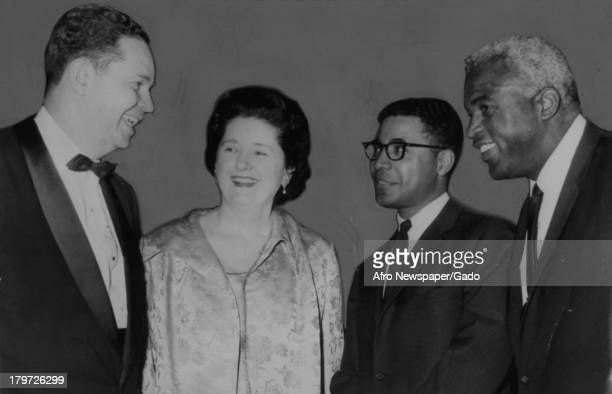 Human rights dinner with American former baseball player Jackie Robinson of the Brooklyn Dodgers, New York, New York, May 21, 1966.