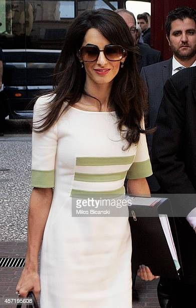 Human rights lawyer Amal Alamuddin Clooney entering a Greek Minister of Culture on October 14 2014 in Athens Greece Human rights lawyer Amal...