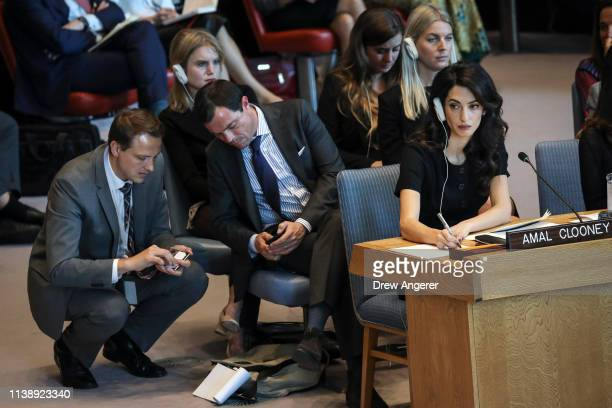 Human rights lawyer Amal Clooney attends a United Nations Security Council meeting at UN headquarters April 23 2019 in New York City Member nations...