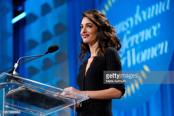 Human rights lawyer Amal Clooney delivers her Keynote Speech on stage during Pennsylvania Conference for Women 2018 at Pennsylvania Convention Center...