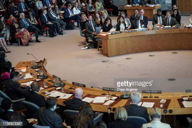Human rights lawyer Amal Clooney speaks during a United Nations Security Council meeting at UN headquarters April 23 2019 in New York City Member...
