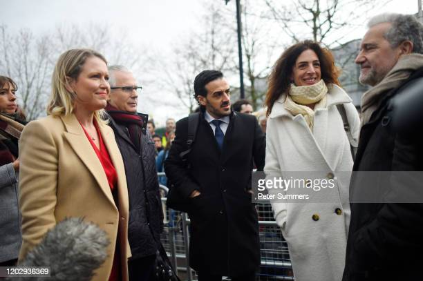Human rights lawyer Jennifer Robinson and Spanish former judge Baltasar Garzón arrive with other members of the defence team for WikiLeaks founder...
