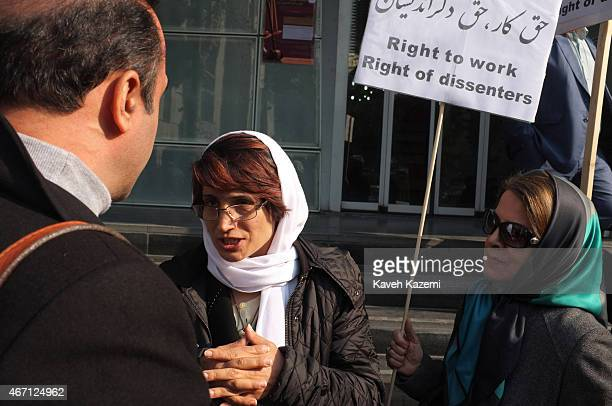 Human rights lawyer Nasrin Sotoudeh photographed while talking to supporters outside the bar association during her daily sitin protesting the...