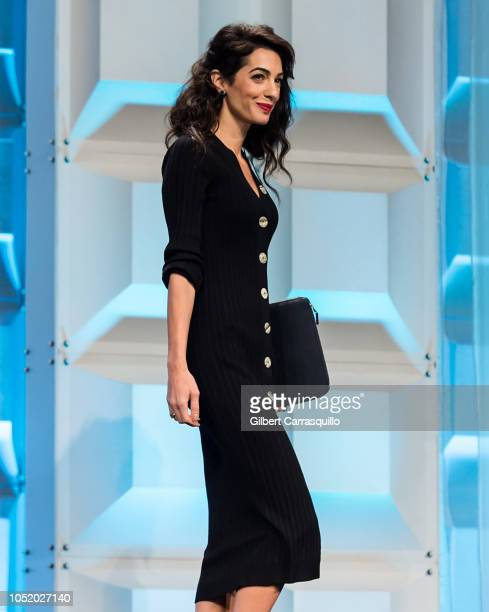 Human rights lawyer specialising in international law Amal Clooney delivers her keynote speech on stage during Pennsylvania Conference for Women 2018...