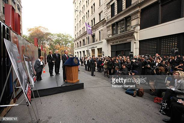 Human rights organizer Helen Bamber actress Emma Thompson NYU President John Sexton and New York City Mayor Michael Bloomberg attend the Journey...
