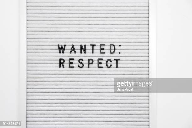 human rights respect wanted letterboard - respekt stock-fotos und bilder