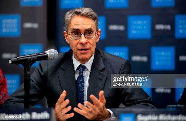 Human Rights Watch Executive Director Kenneth Roth speaks during a press conference to launch their 2020 World Report at the New York United Nations...
