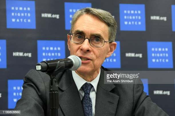 Human Rights Watch Executive Director Kenneth Roth speaks during a press conference at the U.N. Headquarters on January 14, 2020 in New York City.