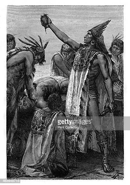 Human sacrifice Mexico PreColombian period A priest holds up the stillbeating heart of a victim in a 19thcentury representation of practices carried...