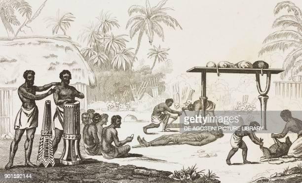 Human sacrifice Oceania and Australia engraving by Montant e Danvin from Oceanie ou Cinquieme partie du Monde Revue Geographique et Ethnographique de...